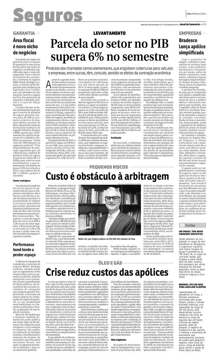 Título: Seguro Garantia Judicial Veículo: Jornal do Commercio RJ . Data 14/08/2015 Cliente:Willis
