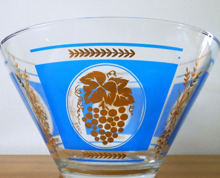 Hazel Atlas Blue and Gold Grape and Wheat Bowl, Mid Century Salad Bowl, Hazel Atlas Chip & Dip, Mid Century Modern Punch Bowl by AKitschIsJustAKitsch on Etsy