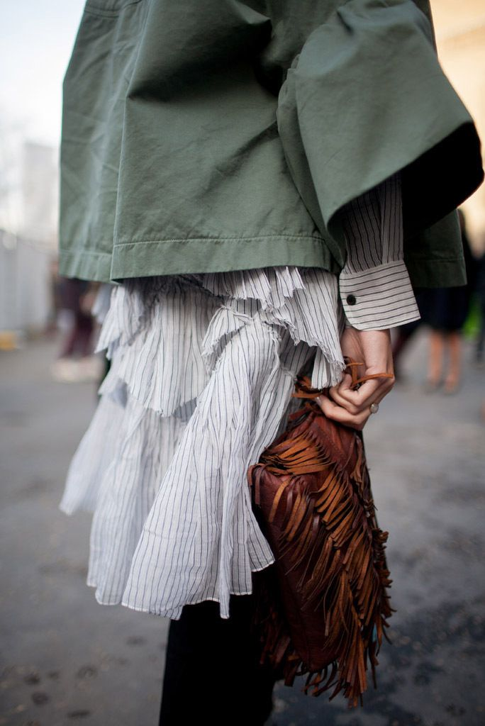 London Fashion Week Street Style RTW Fall 2016. Textures and fabrics