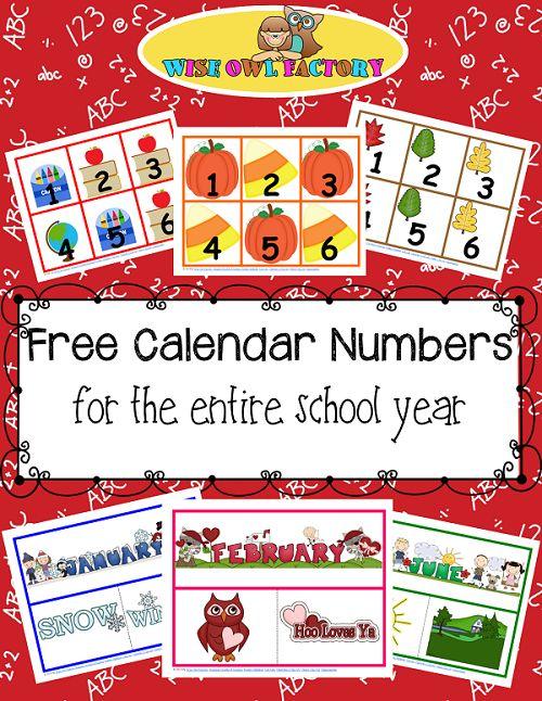 Free Full Year of Calendar Numbers Printable