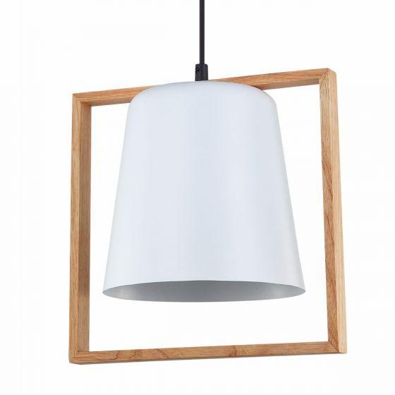 Lampada Zanuso Metal Shade & Timber Pendant Light