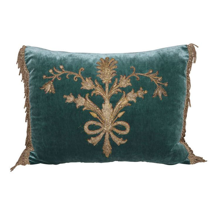 Italian Appliqued Velvet Pillow | From a unique collection of antique and modern pillows and throws at https://www.1stdibs.com/furniture/more-furniture-collectibles/pillows-throws/