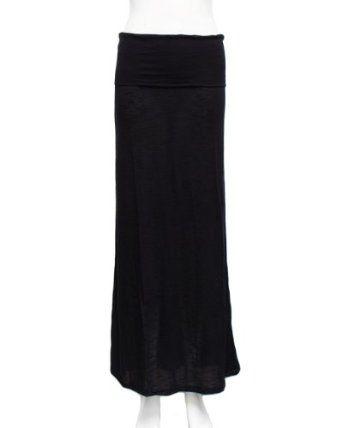 Black Fold-Over Maxi Jersey Skirt FineBrandShop. $14.90
