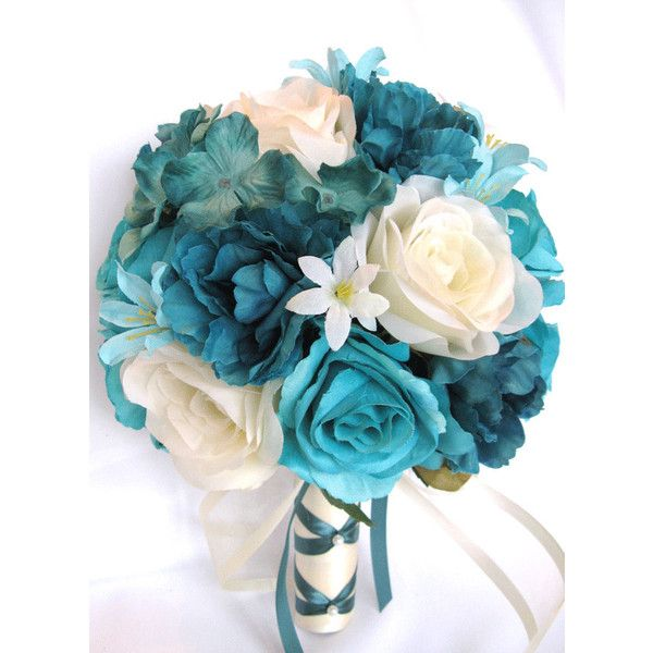 17 Piece Package Wedding Bouquets Bridal Bouquet Wedding Silk flowers... ($240) ❤ liked on Polyvore featuring home, home decor, turquoise home decor, teal blue home decor, aqua home accessories, teal home accessories and aqua home decor