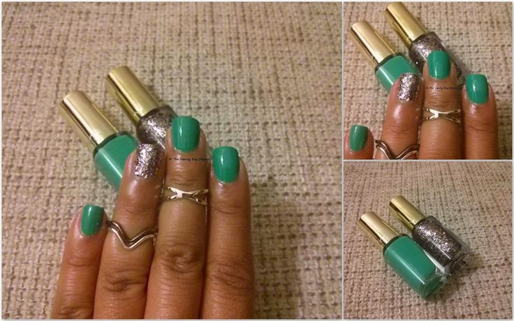 This Manicure Monday features Loreal Color Riche Le Vernis in Vendome Emerald & Sequin Explosion. Loreal  Vendome Emerald is a beautiful creamy green. I am not sure which  category of green it fits into, though it is not emerald in my opinion.  Its a beautiful formula and goes almost opaque in one c