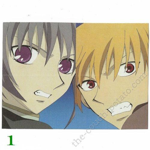 Anime Postcard  Fruits Basket 3.5x5 inches hand-cut Funimation   Yuki Kyo Tohru Shigure Cat Rat Dog