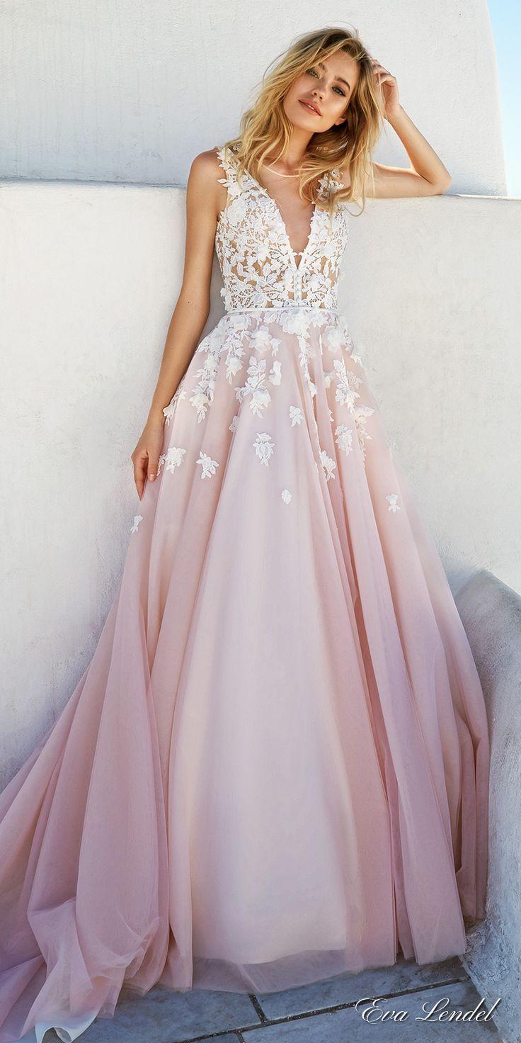 eva lendel 2017 bridal sleeves deep v neck heavily embellished bodice romantic pretty pink color a line wedding dress keyhole back royal train (britany) mv