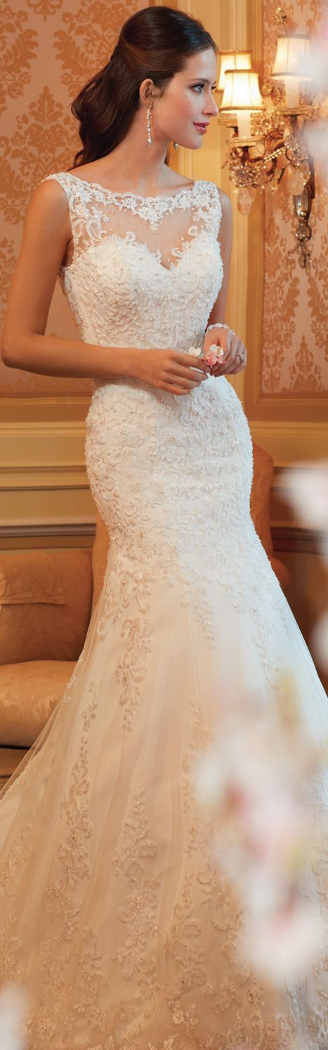 Lace weddingdress with beautiful neckline
