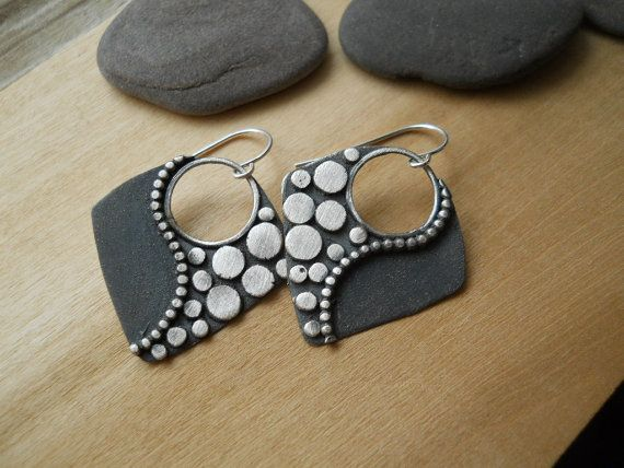 tribal diamond earrings hand forged by Q2jewelrycollection on Etsy, $50.00
