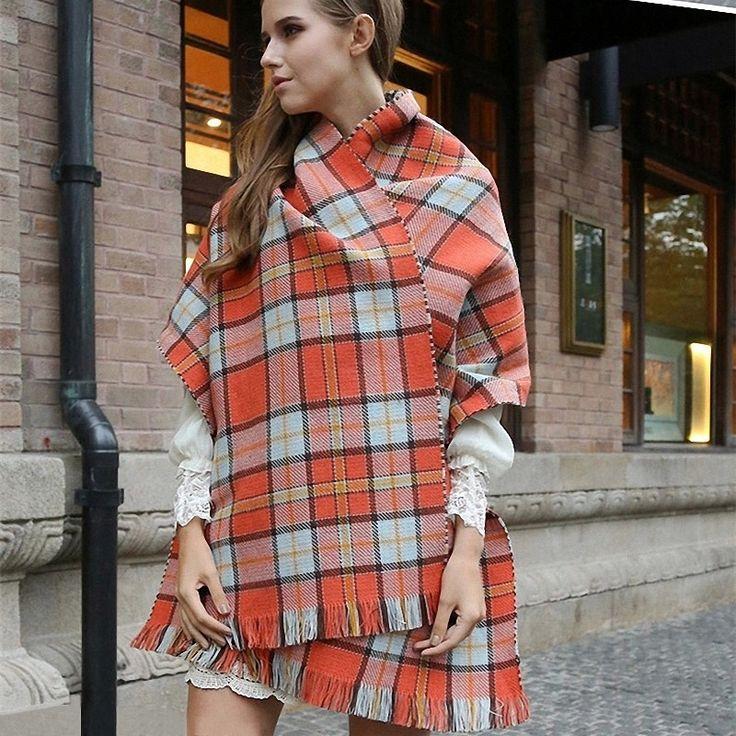 Orange Plaid Reversible Scarf | Blanket Scarves //Price: $20.99 & FREE Shipping //     #scarf #scarfscalling #wrap #photooftheday #beautiful #art #love #fashionblogger #picoftheday #la #newyork #nyc #style #jewelry #beauty #fashionista  #stylish #wearableart #fashionart #giftideas
