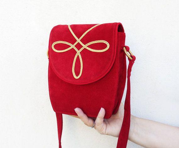 Les Copains shoulder bag / suede Leather Envelope Bag by Skomoroki