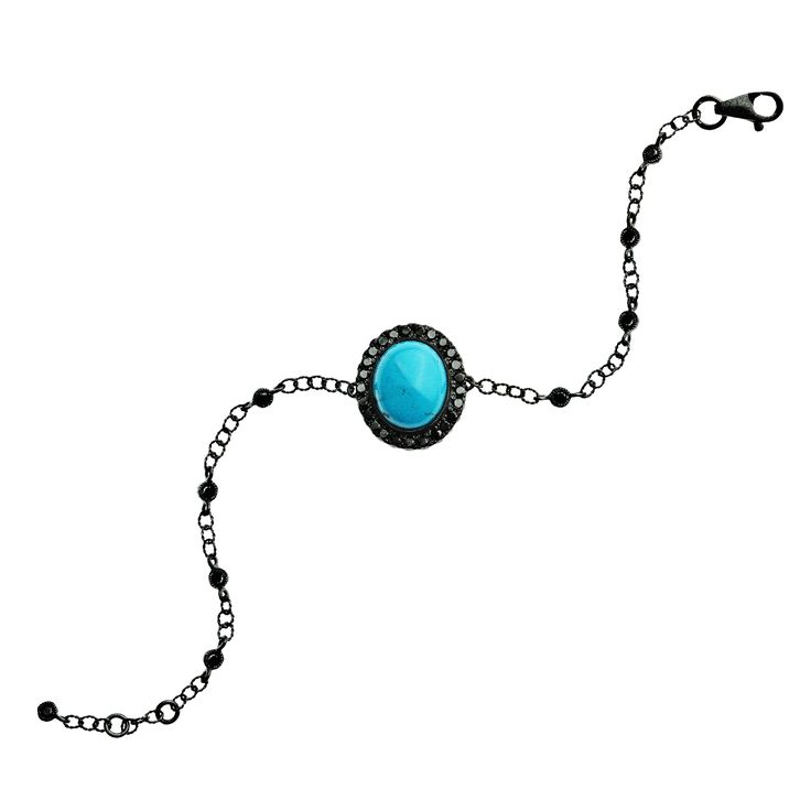 Bracelet 361/BLKG/TU | Turquoise / Black Diamond / Black Gold