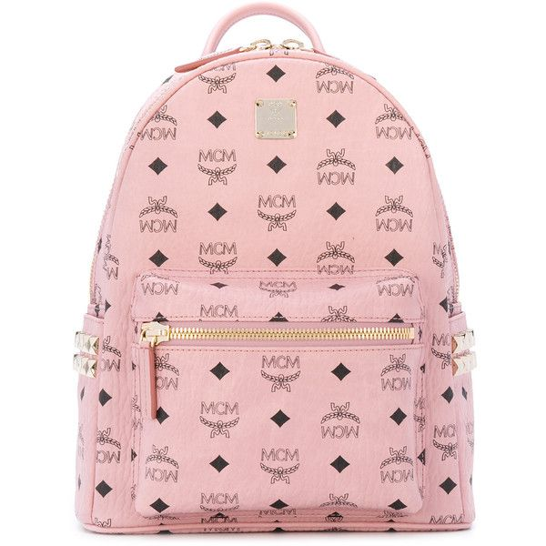 MCM Start monogram backpack ($713) ❤ liked on Polyvore featuring bags, backpacks, day pack backpack, leather daypack, mcm, pink backpack and mcm rucksack