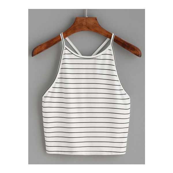 SheIn(sheinside) White Striped Y Back Cami Top ($9.99) ❤ liked on Polyvore featuring tops, white, halter tank top, white cami, white tank top, white halter tank top and white singlet