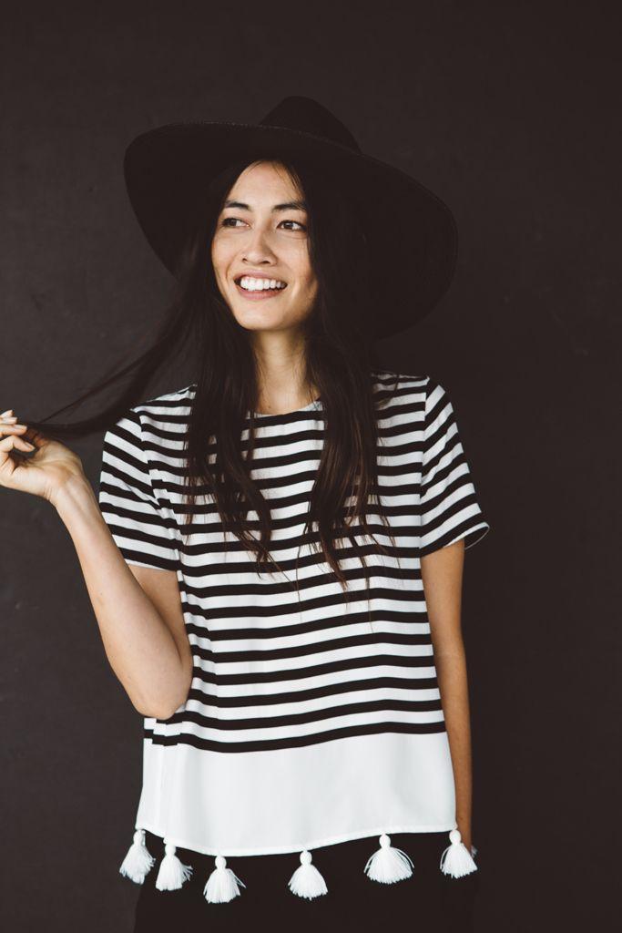 Jenni Kayne Resort2016 | black + white stripe top + white tassel detail
