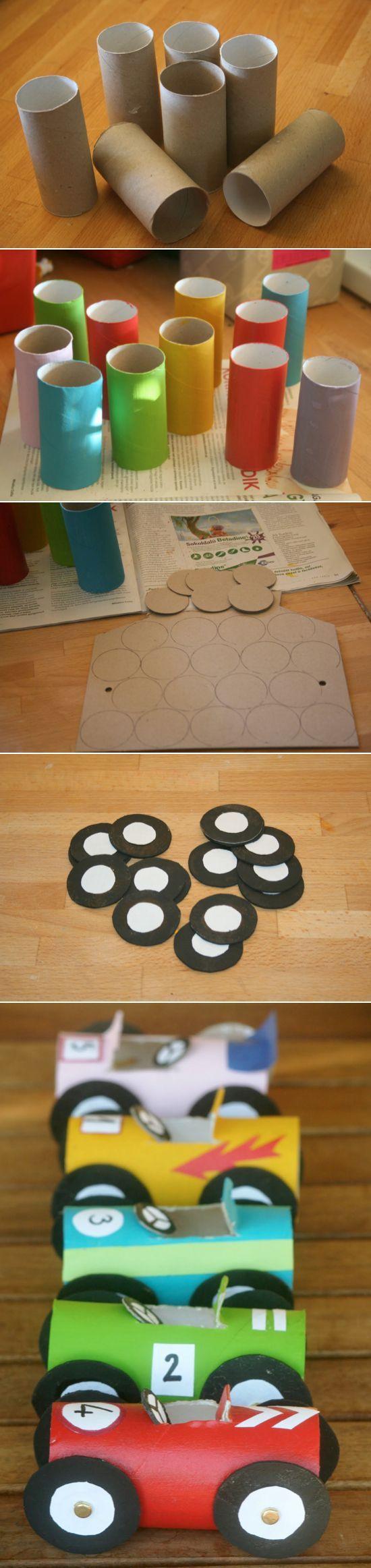 Toilet Paper Roll Crafts. Carrinhos com rolo de papel higienico. Reciclagem de material.