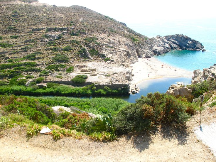 A view of Nas beach on Ikaria, where remnants of the Temple of Artemis still stand. The beach is very much loved by naturists and in recent years the setting for more alternative events such as meditation workshops.