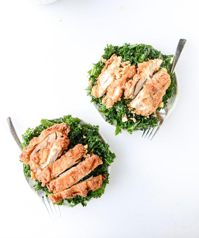 Chili Garlic Shredded Kale Salad with Fried Chicken