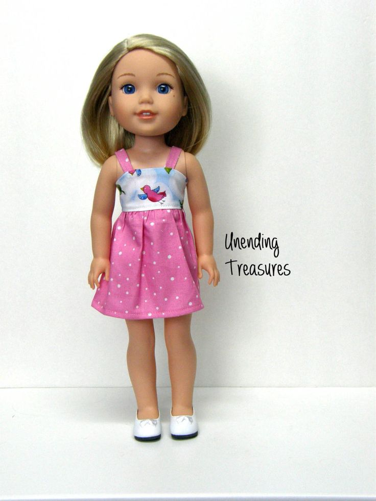 14 inch doll clothes AG doll clothes pink sundress made to fit like Wellie Wishers doll clothes by Unendingtreasures on Etsy