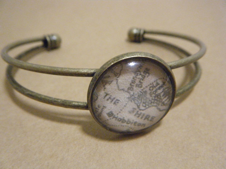 Lord of the Rings/The Hobbit - Map of the Shire/Lonely Mountain Cuff Bracelet. £10.00, via Etsy.