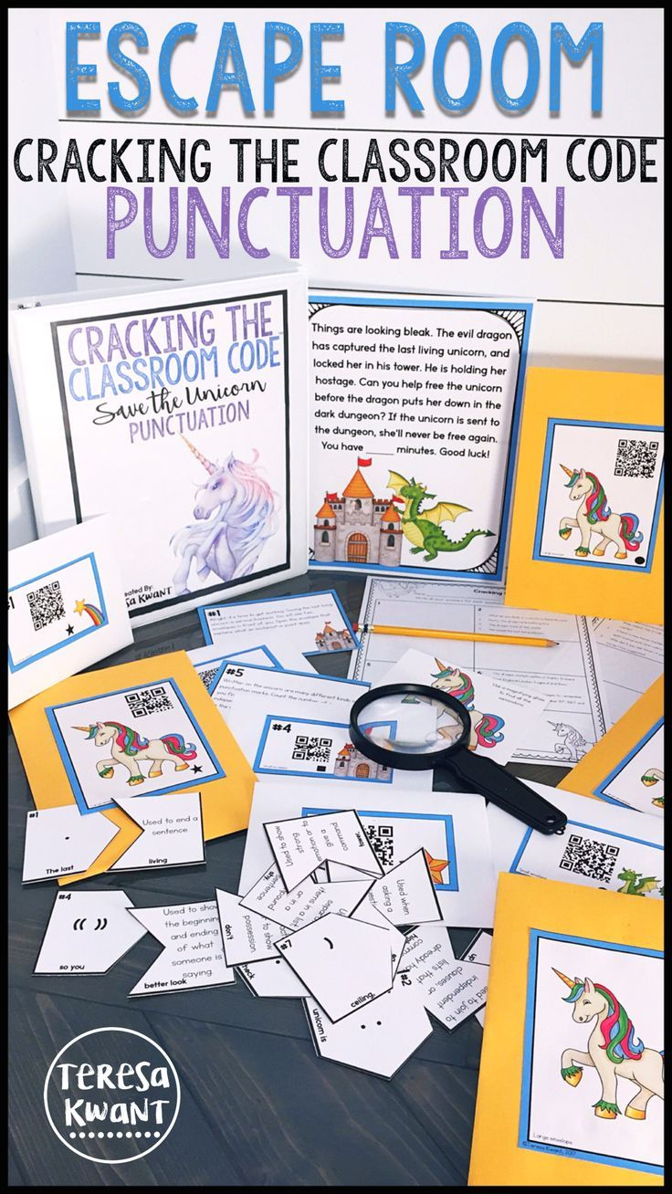 This escape room is a perfect way to get your students learning about the rules of punctuation. Students are trying to help a unicorn escape the evil dragon that has locked her in his tower. The class must solve a string of language arts questions, based on punctuation, before the dragon locks the unicorn in the dungeon forever. This escape room game is perfect for grades 3-5. Your class will be begging for more Cracking the Classroom Code games for sure!