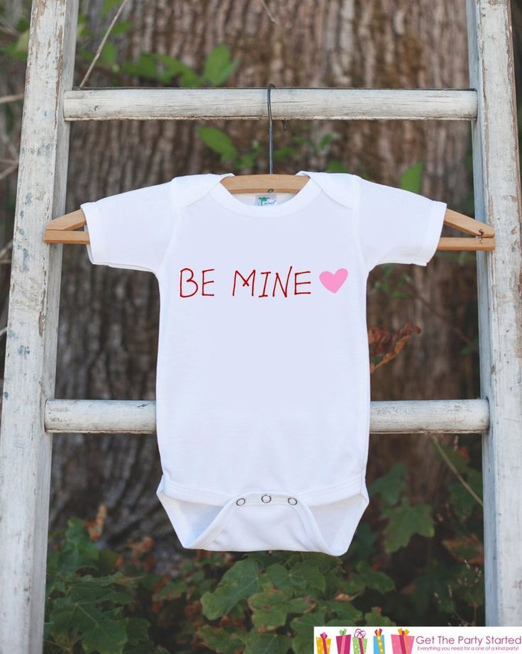Kids Valentines Shirt - Be Mine Valentine Outfit - Novelty Valentine Onepiece for Baby Girls - Kids Valentines Outfit - Red & Pink Heart