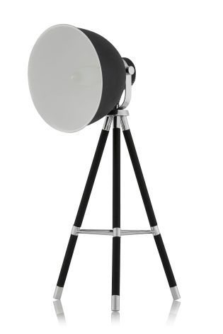 Studio Textured Black And Chrome Tripod Table Lamp from Next