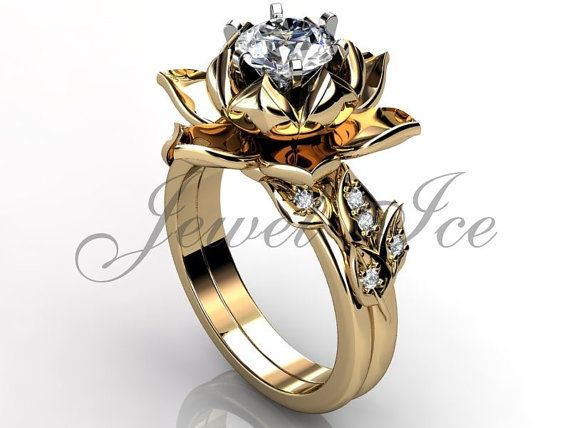 14k yellow gold diamond unusual unique lotus flower engagement ring, bridal set, wedding ring, flower engagement set, anniversary ring by Jewelice