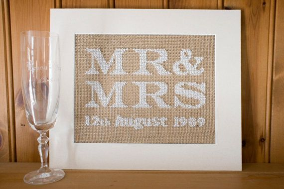 Shabby Chic Personalised Wedding Sampler  Mr by stitchedupbyleona, £30.00