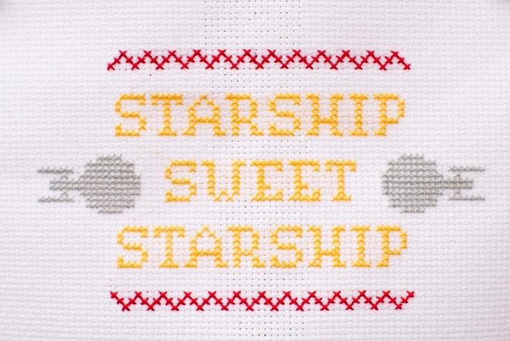 star trek themed cross stitch sampler