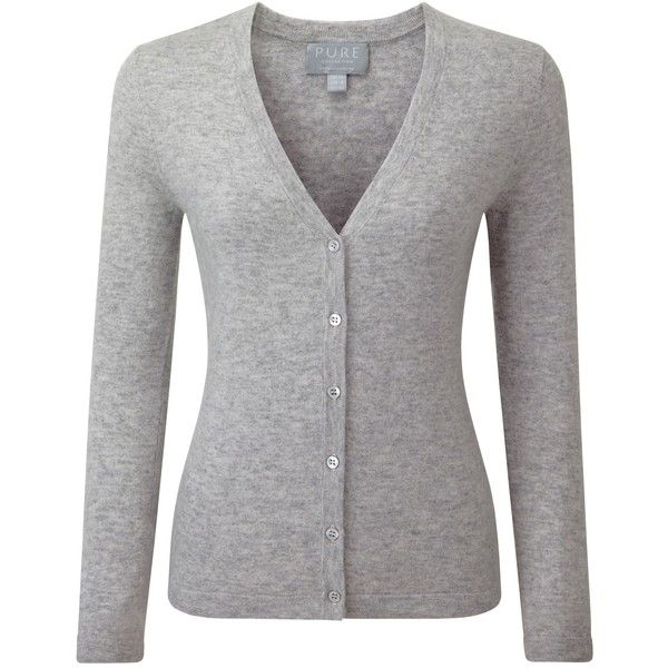 Pure Collection Sadie Cashmere V Neck Cardigan, Heather Dove ($140) ❤ liked on Polyvore featuring tops, cardigans, cashmere tops, long sleeve tops, cashmere v neck cardigan, v neck tops and short-sleeve cardigan