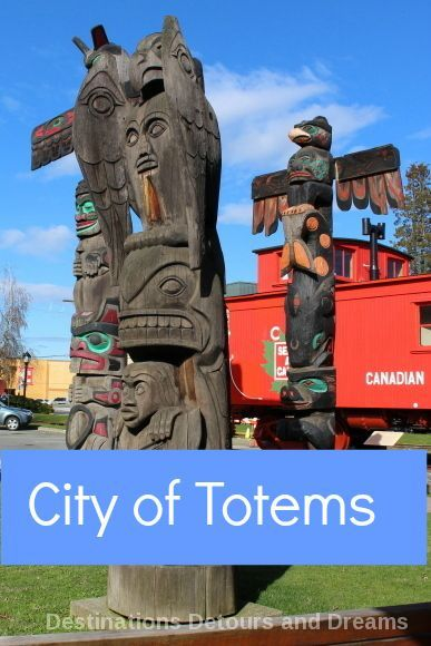Take a tour of over 40 totem poles in Duncan (City…