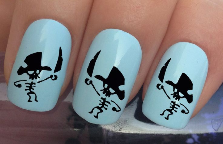nail art set #638 x24 pirate skeleton figurine hat sword water transfer decals stickers manicure set by Nailiciousuk on Etsy