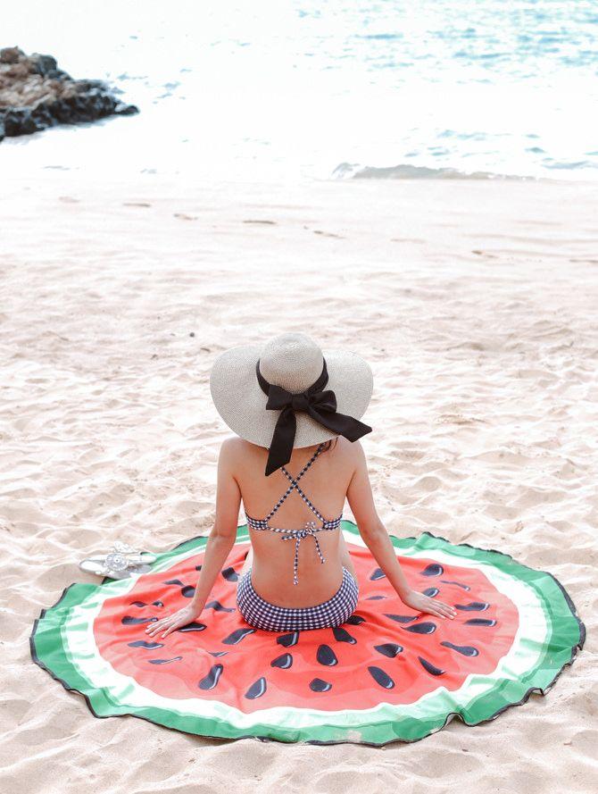 watermelon circle beach towel / blanket + navy gingham bikini on Wailea beach, Maui Hawaii