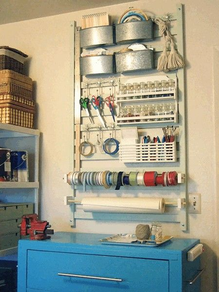 If you ship a lot of items from your online store, it would be great to have a place set aside to make your workflow much better! Wrapping station. Looks like this is in their garage too.