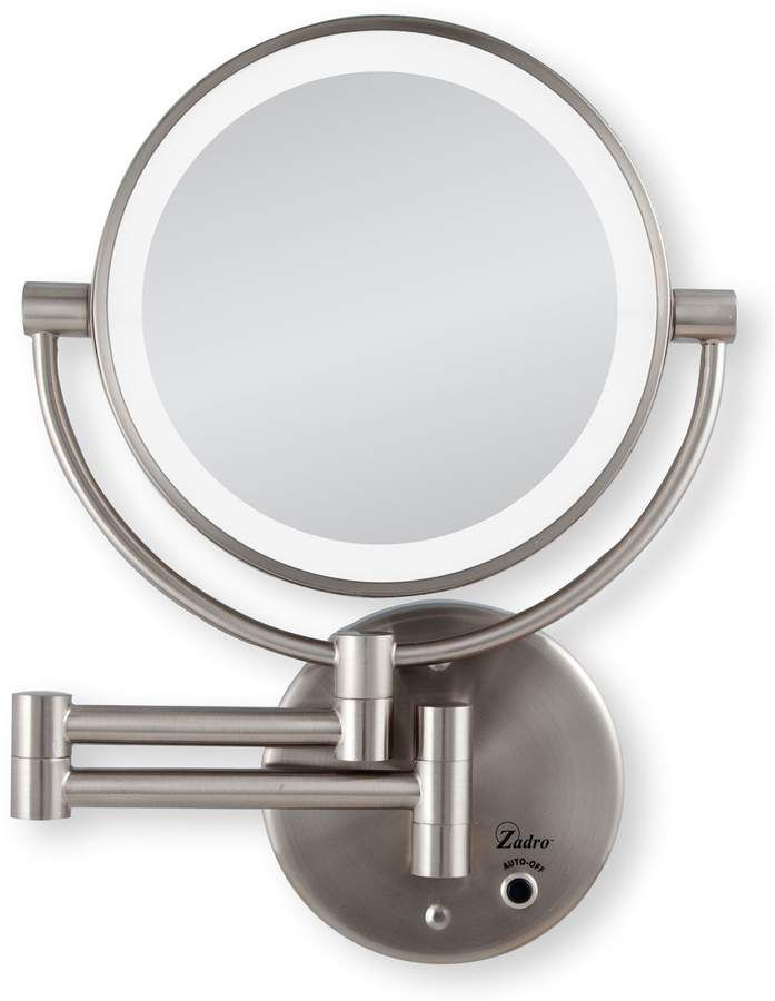 Zadro Cordless Led Wall Mount Mirror 1x 5x Satin Nickel Qvc Com In 2020 Wall Mounted Mirror Lighted Wall Mirror Mirror