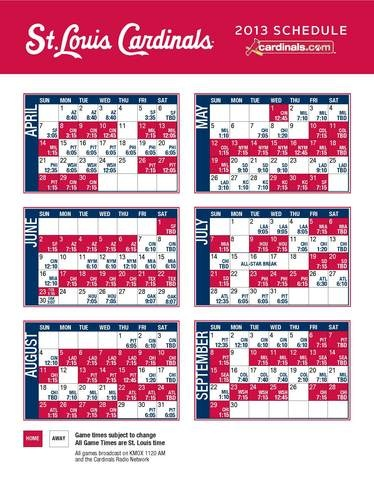 st.louis cardinals 2013 schedule | Keeping You Informed: Cards Announce 2013 Schedule (C70 At The Bat)