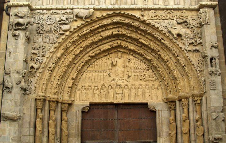 Portada románica de la iglesia de Santa María la Real, Sangüesa, Navarra, Camino Aragonés