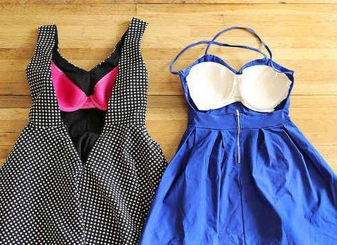 Cousez la moitié avant d'un soutien-gorge bon marché à l'intérieur d'une robe dos nu.
