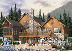 Plan de maison no. W3925 de DessinsDrummond.com  Vous êtes à la recherche d'un « chalet » familial ? Eh bien prenez le temps d'apprécier ce plan 3925 dont les commodités intérieures comme extérieures vous surprendront !     D'abord, veuillez considérer un extérieur tout à fait dans le ton d'un « chalet » avec pierre et bois en parement mural, grande terrasse avec accès au terrain, abri-moustiquaire où il fera bon manger sans les moustiques, rangement des plus logeables donnant sur…