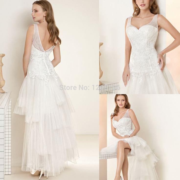 Сексуальный белый шифон кружева с коротким свадебное платье невесты привет-ло-бич свадебные платья с нижней части спины свадебное платье