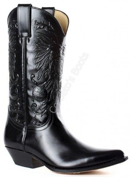 Corbeto's Boots | 1649 Pico Florentic Negro | Bota cowboy Sendra piel brillante negra para hombre, elegancia cowboy | Sendra boots shiny black cowboy boots for men, true cowboy elegance.