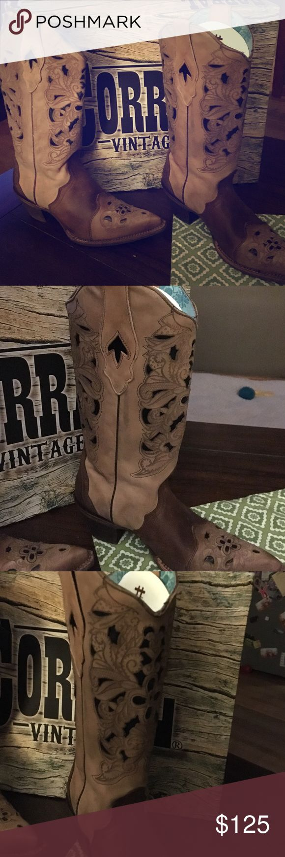 Corral Vintage Cowgirl Boots Corral Vintage Cowgirl Boots, size 8, never worn, Brown/Black Lazer Tool, Stk C1621 Corral Vintage Boots  Shoes Heeled Boots