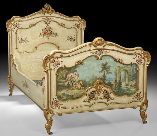 Furniture: Bed; Louis XV (Style), Painted & Parcel Gilt, Shell & Foliate Crest, Pastoral Landscape, Scrolled Feet.