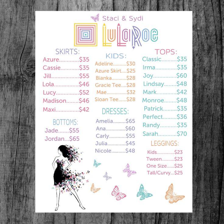Adorable image pertaining to lularoe price list printable