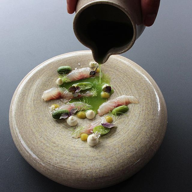 Lightly basil cured sea bass, pickled cucamelon, fermented cucumber, sour cream, cucumber and serrano juice & soft herbs @rafacovarrubias Collaboration Dinner with @canisrestaurant
