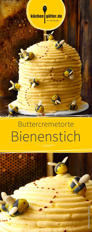 Bienenstich einmal anders: Dieses Rezept versteckt eine kreative Buttercremetorte.