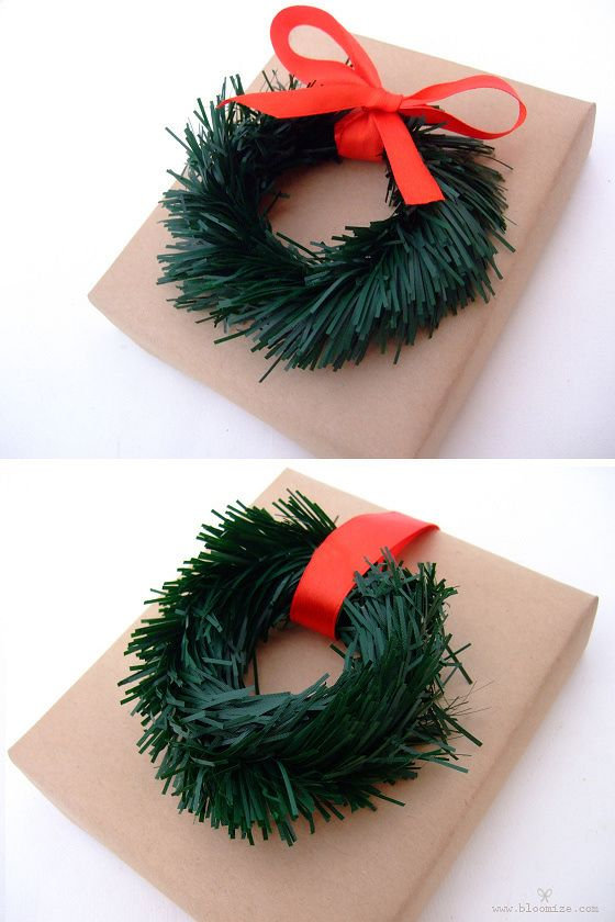 Bloomize.com - mini tinsel garland wreaths, gift wrapping idea