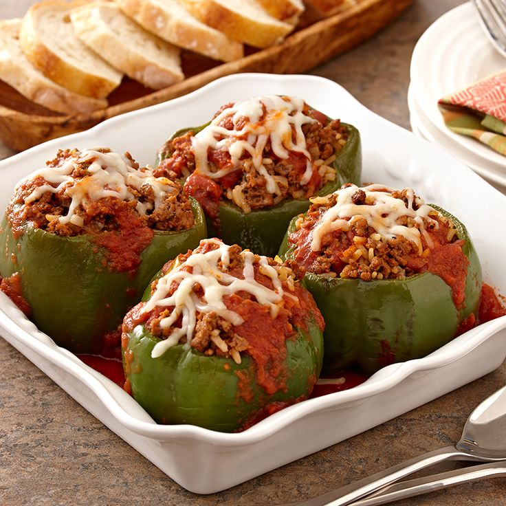 Ground beef, garlic powder and Italian seasoning amp up the flavor in these stuffed peppers.