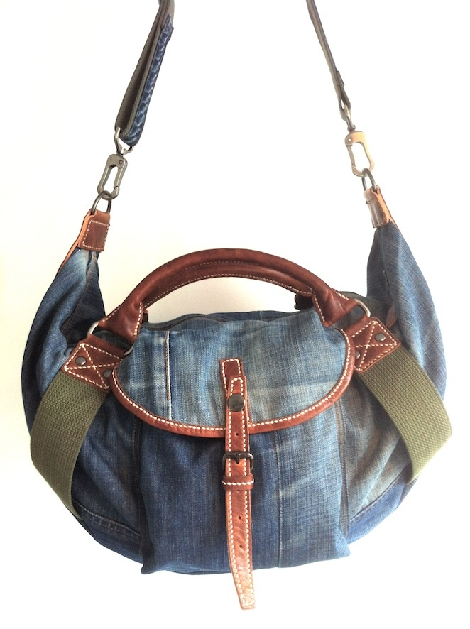 Old Nudie jeans DIY denim bag (front) ....